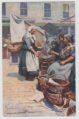 """""""Fishwives in Dundee Market"""" Oilette PPC, GVG Used 1905"""