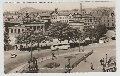 Albert Square Buses, Dundee High School, Viewed in 1949 Real Photo PPC, Unused.