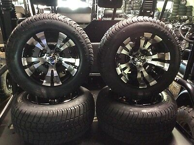 Custom Golf Cart wheels 205/50/10 Tires Custom Rims fit E-Z-GO Club Car set of 4