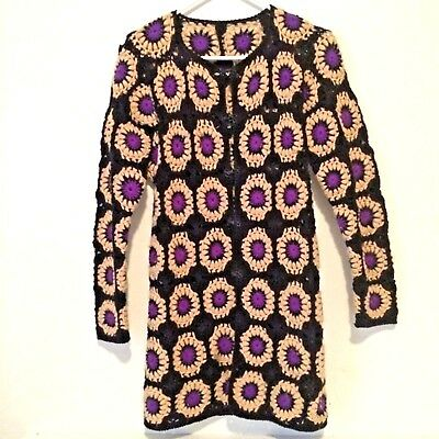 Vintage 70's Hand Crochet Granny Square Cardigan Sweater
