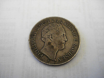 1848 German States Friedrich August II Saxony-Albertine Thaler Silver Coin