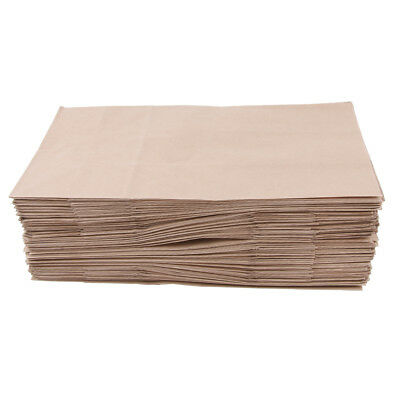 100 Pcs Kraft Paper Food Packing Bags Unwaxed Oilproof Takeout 15x9x27cm