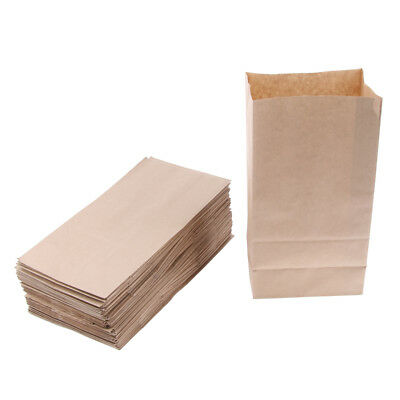 100 Pcs Kraft Paper Food Packing Bags Unwaxed Oilproof Takeout 15.5x10x30cm