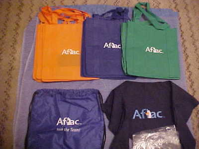 Lot Of 43 Aflac Merchandise Items-Bandanas/window Decals/colored Shop Bags