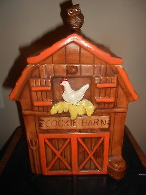 BARN COOKIE JAR - complete with chickens, and an owl on the top. (Treasure Craft