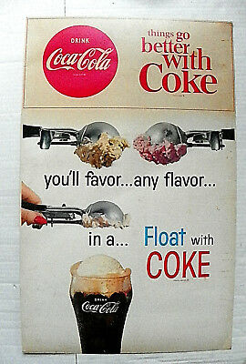 "1960's ""THINGS GO BETTER WITH COKE ~  IN A..FLOAT WITH COKE"" HEAVY BOND SIGN"