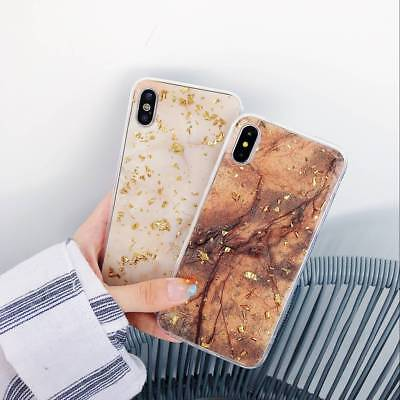 Cute Bling Glitter Platinum Gold Marble Protective Case Cover For iPhone