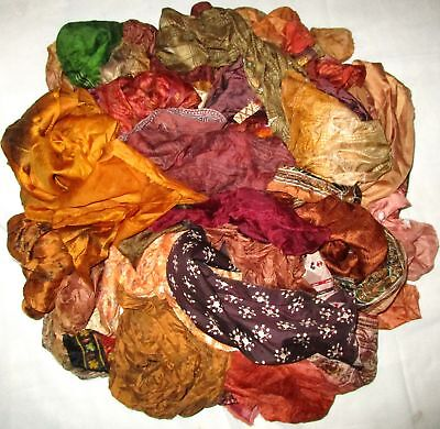 LOT PURE SILK Antique Vintage Sari REMNANT Fabrics 100 GRAMS Brown DOLL CRAFT