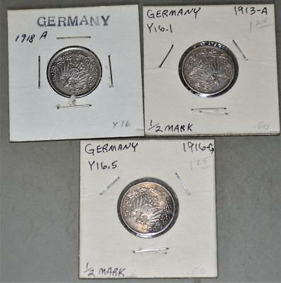 Germany-Empire - 1913-A 1916-G 1918-A 1/2 Mark Lot of 3 Silver Coins