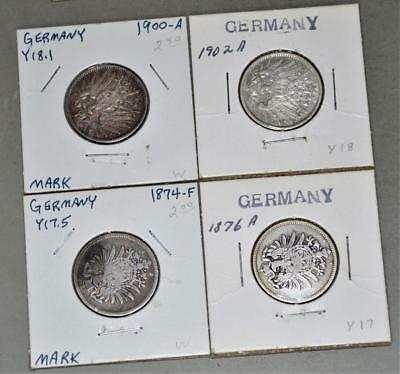 Germany-Empire - 1874-F 1876-A 1900-A 1902-A 1 Mark Lot of 4 Silver Coins