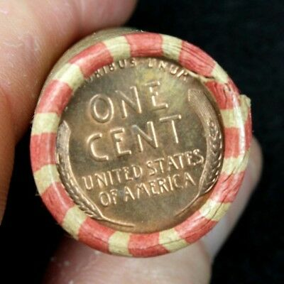 BU Penny Back Showing On End Of 50 Coin Circulated Wheat Cent Shotgun Roll C-60