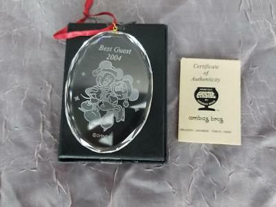 Disney Best Guest Mickey & Minnie Mouse Crystal Holiday Ornament COA Arribas a