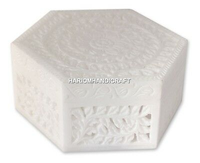 White Marble Rare Antique Hand Carved Storage Box Beautiful Newyear Gifts H4629A