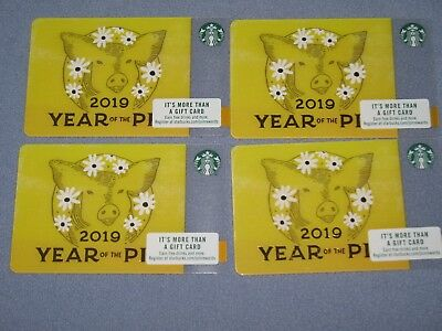 4 - 2019 Starbucks Gift Card - Year of the Pig (Lunar New Year) - Brand New !