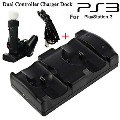 2in1 Dual USB Charger Charging Dock Station Stand for PS3 Controller Console USA