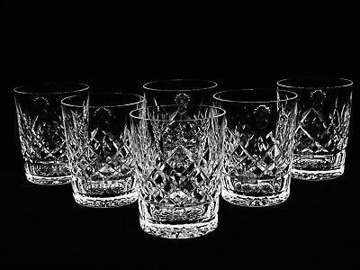 """6 Brilliant Vintage Waterford Crystal """"lismore"""" Dbl Old Fashioned Glasses Nos"""