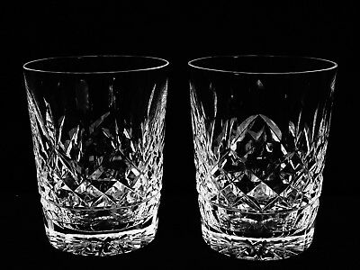 """2 Brilliant Vintage Waterford Crystal """"lismore"""" Dbl Old Fashioned Glasses Mint"""