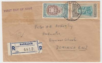 BARBADOS 1951 University issue reg'd FDC to Dominica