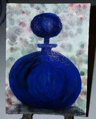 Aceo Watercolor Cobalt Blue Bottle Decanter Original Art by AnnaMarie