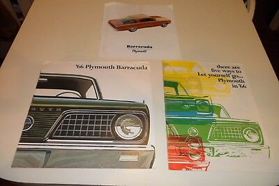 Lot of 3 Original 1966 Plymouth Dealer Sales Brochures Barracuda Cuda