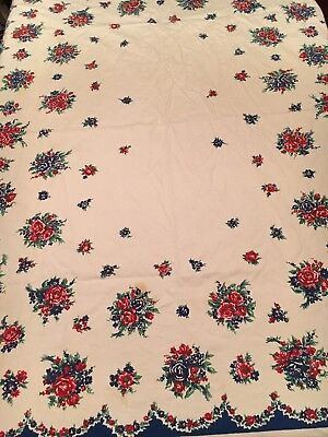 "Vtg Cotton Tablecloth Red Navy Green Floral Mid century 1950s 52"" x 64"" Reduced!"