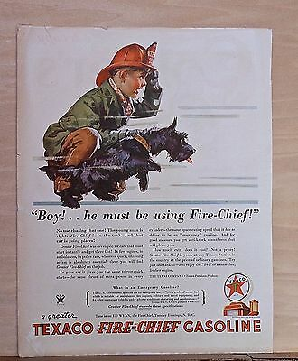 1934 magazine ad for Texaco - small boy holds Scottie dog, admires speeding car