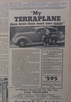 1936 newspaper ad for Hudson - Terraplane does more than most cars claim
