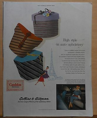 1952 magazine ad for Collins & Aikman Auto Upholstery - High Style in Candalon
