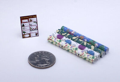 Dollhouse Miniature Handcrafted 1:12 Scale Christmas Gift Wrap & Tags #HC519R