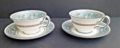 Set 2 Wedgwood Bone China Florentine Turquoise W2714 Cups And Saucers England Nr