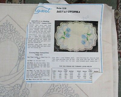 Vintage Myart #1370 Linen Supper Cloth With Daisies & Gypsophila To Embroider