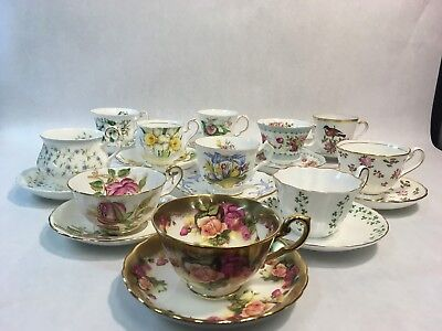 Mixed Lot of 11 Fine Bone China Tea Cups Saucers Gold Trim Limoges Aynsley Etc