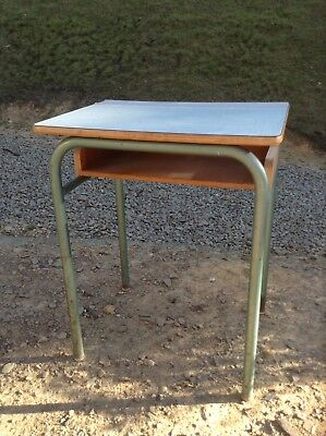 Vintage French Formica Topped Wooden School Desk (2080)