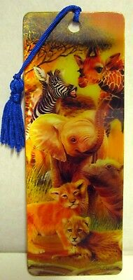 """High Definition 3D """"african Animals"""" Bookmark With Colourful Tassle! Bn"""