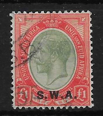 South West Africa Sg57 1927 £1 Pale Olive-Green & Red Used