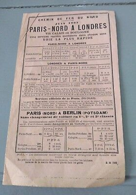 Chemin de fer du nord horaire documentation Paris-Nord Londres Berlin  1907