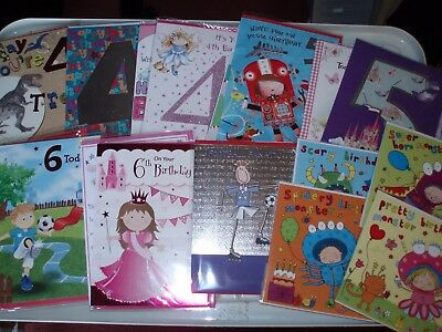 20 * Kids Ages * 4, 5, 6  & Open birthday / greeting cards ~ FREE POSTAGE