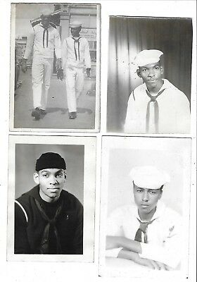 VINTAGE PHOTOS LOT Of 4 HANDSOME AFRICAN AMERICANS BLACK AMERICANA SAILORS