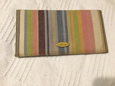 LONGABERGER Pastel STRIPE CHECKBOOK COVER WALLET