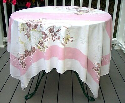 Vintage Print Tablecloth Pink Gray Green Brown Flowers Leaves