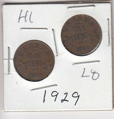 1929 Canadian small cent high 9 and low 9