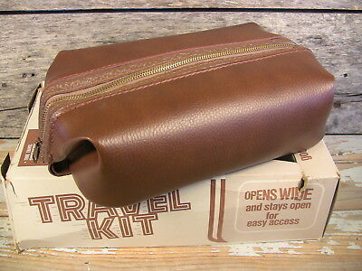 Vintage Shaving Bag Travel Kit Men's Toiletries Grooming Brown Naugahyde Leather
