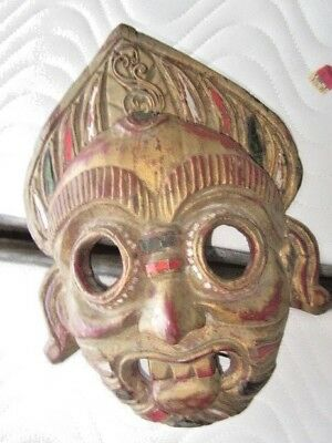 Thailand Vintage Hand Carved And Painted Tribal Wooden Mask With Encrusted Glass
