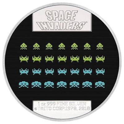 Niue Islands 2 Dollar Space Invaders 1 Unze Silber Farbe Lenticular, 1 oz, 2018,