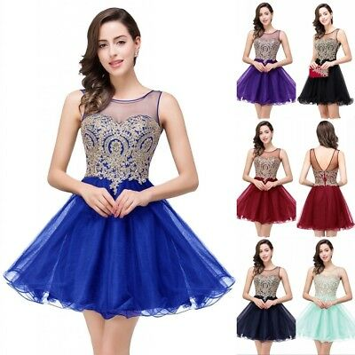 f8ade70cbc6 Short Evening Prom Dress Formal Party Homecoming Dress Appliqued Bridesmaid  Gown