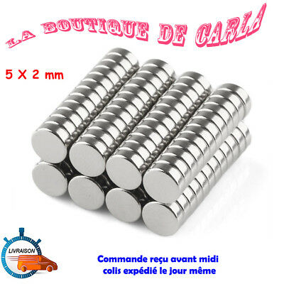 Lot Mini Aimant Neodyme Neodymium Magnets Disque Rond Fort Puissant 5mm X 2mm