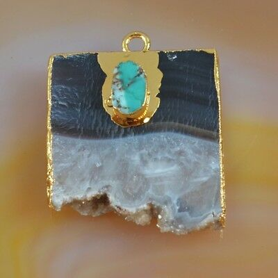 Rare Amethyst Druzy Slice & Genuine Turquoise Charm Gold Plated H126568