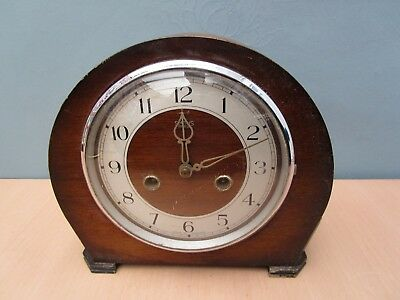 Vintage Wooden Smiths Enfield Mantle Clock - No Key