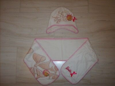 "Set cappello + sciarpa  bimba ""Barbie"" in pile Panna"