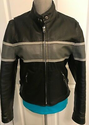 Hot Leathers Black w/Gray Stripe Racing Motorcycle Leather Jacket Women's M